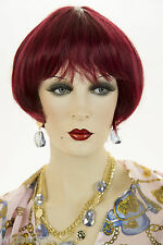 Burgundy Blonde Short Skin Top Straight Wigs
