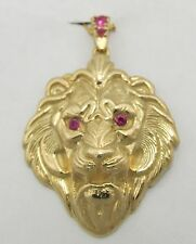 14K solid yellow gold Lion Head with Ruby Eyes and Bale Pendant