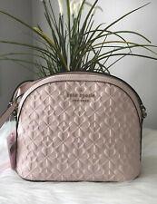 New Kate Spade Hollie Spade Clover Geo Emboss X Large Dome Crossbody Peach Puff