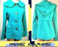 TULLE by ANTHROPOLOGIE Size Large Women's Teal Blue Hooded Pea Coat Fully Lined