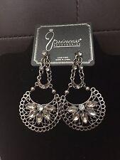 Large Silver-Tone Rhinestone Grey and Clear Rhinestone Drop Dangle Earrings #414