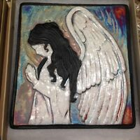 Angel Raku Wall Art (new design) - handmade & handsigned - NEW