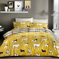 Fusion DOGS Ochre Yellow & Grey Tartan Reverse Easy Care Duvet Cover Set