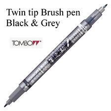Tombow Fudenosuke Black and Grey Twin tip Brush pen