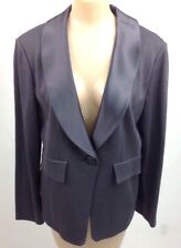 St. John Collection Women's Size 14 Pewter Gray Wool Blend One Button Blazer