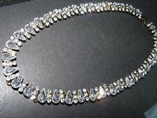pear and round rhinestoneon brass tone  link  choker necklace