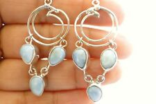 925 Sterling Silver Earrings Tear-Shaped Sky Blue Larimar Chandelier