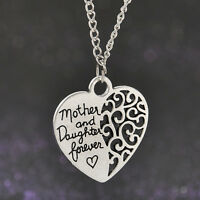 New Alloy Vintage Silver Heart Mother and daughter forever LOVE Pendant Necklace