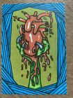 """ACEO Original Print """"Gotcha Beating Heart"""" Signed in Plastic Top Loader Horror"""