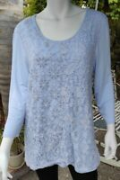Chicos Blouse Womens Sky Blue Embroidered Lace Silver details Tunic  Boho 2