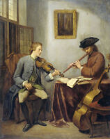 """oil painting handpainted on canvas""""a violinist and a flautist music """"@9437"""