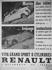 PUBLICITÉ 1937 RENAULT VIVA GRAND SPORT 6 CYLINDRES FREINAGE INSTANTANÉ