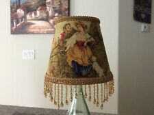 BeadTrim Fragonard Cameo Gold Red Yellow French Country Toile Lamp Shade 5x8x6.5
