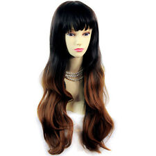 Wiwigs Fabulous Long Wavy Black Brown & Red Dip-Dye Ombre Ladies Wig