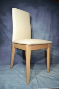 New set of 4 luxury dining chairs made from high quality solid wood and leather