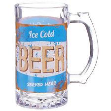 Ice Cold Beer Served Here Printed Design Large Glass Drinking Beer Mug Tankard
