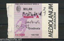 59670  - Vecchio  BIGLIETTO PARTITA CALCIO - 1987 / 1988 : MILAN / REAL MADRID