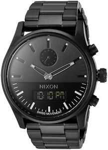 Nixon DUO Stainless Steel All Black 46mmWatch A932-001(crown changed)
