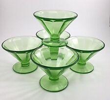 Vintage Depression Glass Federal Optic Hostess Line Sherbet Dishes SET OF 5
