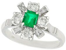 Emerald and Diamond, 18k White Gold Dress Ring