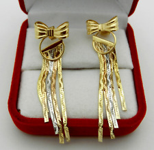 Real 14k Multi Tone Gold Dangle Pierced Bow-Knot Style Earrings