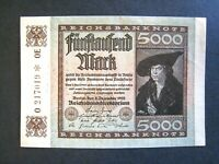 1922 Germany 5000 Mark Inflationary 4th Issue Reichsbanknote Pick 81c AU+ Nice