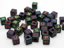 200 Black with Neon Color Assorted Alphabet Letter Cube Pony Beads 8X8mm Craft
