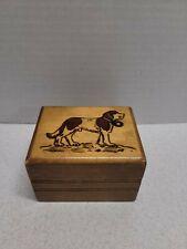 Vintage Wooden Dog Bank Hidden Slide Opening St. Bernard Child Saving Coin Money