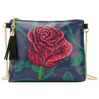 DIY Rose Special Shaped Diamond Painting Women Leather Chain Crossbody Bags N#S7