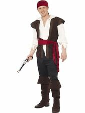 Smiffy S Pirate Costume With Headscarf Top Trousers Belt and Bootcovers Blac