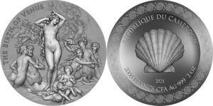 Cameroon - 2021 - Birth of Venus - Celestial Beauty Series - Silver Coin