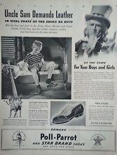1941 Poll Parrot Shoes Uncle Sam Demands Leather Children Boy Original Ad