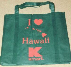 """KMART HAWAII GREEN """"I LOVE HAWAII"""" REUSABLE SHOPPING BAG / TOTE (New)"""