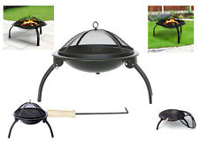 FIRE PIT LOG HEATER BBQ PATIO BOWL FOLD GARDEN OUTDOOR CAMPING 56CM ROUND STEEL