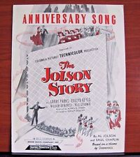 Anniversary Song: The Jolson Story - 1946 sheet music- Piano Guitar Vocal