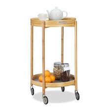 Servierwagen Bambus rund Rollwagen Serviertablett Tabletttisch Küchenwagen Holz