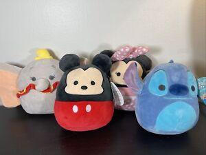"BNWT Disney Squishmallow 5"" Lot Of 4! Mickey Minnie Dumbo Stitch HTF Kelly Toys"