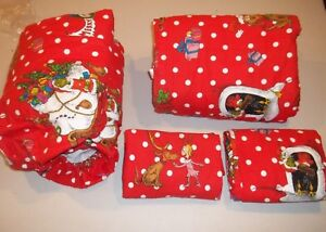Pottery Barn Teen Flannel Grinch Full Sheet Set Christmas Red #336