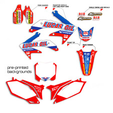 2015 - 2019 HONDA CRF 150F 230F GRAPHICS KIT DECALS LUCAS OIL WITH BACKGROUNDS