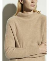 Vince Boiled 100% Cashmere Funnel Neck Sweater Natural Taupe Womens SZ L