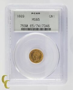 1889 Gold $1 Indian Princess Graded by PCGS as MS65 Gorgeous Coin #7590
