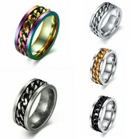 Size 6-15 Trendy Mens Spinner Rotatable Chain Ring Titanium Steel Band Jewelry
