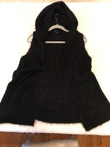 EILEEN FISHER Black Alpaca/Silk blend hooded vest, NEW w/o tags, Size L.
