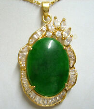 Fashion Emerald Green Jade 18KGP Crystal Women Girl Party Pendant Chain Necklace