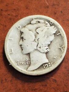 1921 D Mercury Silver Dime, full 4 digit date, key date    INV06     D603