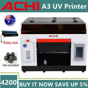 ACHI A3 UV Printer EPSON 1390 Head For Flat Cylinder Glass Rotation Embossed