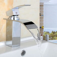 GB Hot/Cold Chrome Plated Waterfall Tap Sink Kitchen Wash Basin Faucet With Hose