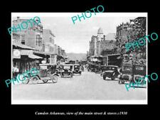 Old Large Historic Photo Of Camden Arkansas, The Main Street & Stores c1930