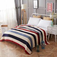 Portable  Plaids Bedspread Striped Soft Bedding Flannel Plain Blanket 120x200CM