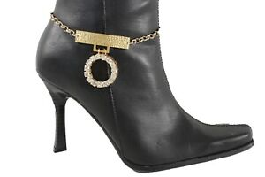 Women Fashion Jewelry Boot Gold Metal Chain Bracelet Shoe Anklet Charm Big Ring